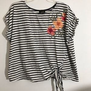 W5 Navy Striped Flower Embroidered Tie Blouse